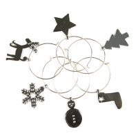 Pack of Six Christmas Wine Glass Charms